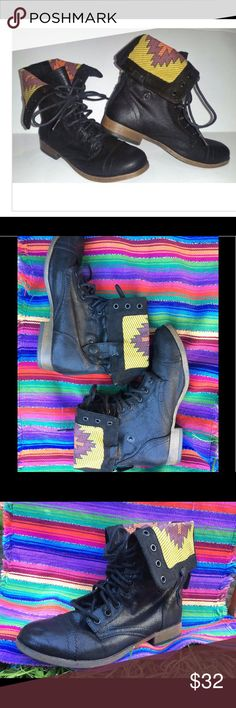Mossimo Combat Fold Over Boots Size 8 1/2 Mossimo Supply Co. Size 8 1/2 Women's Black Combat Boots Aztec Print Pattron Mossimo Supply Co. Shoes Combat & Moto Boots