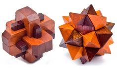 2PCS/LOT Vintage 3D Wooden Puzzle Brain Teaser Burr Puzzles Game for Adults Children