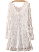 White Long Sleeve Zipper Embroidery Slim Lace Dress $28.87