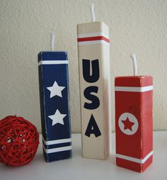 Nap Time Crafts: 4th of July 2x2 fireworks for the mantle