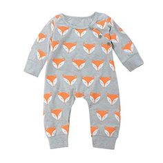 f73eae90f squarex Cute Sunny Infant Baby Girl Boy Fox Print Warm Romper Jumpsuit  Clothes Order now!