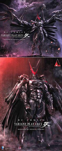 Final Fantasy character designer Tetsuya Nomura Final-Fantasy-ized Batman. Learn More: http://www.vg247.com/2014/07/24/batman_varian_play_arts_kai_final_fantasy_tetsuya_nomura/