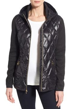 MICHAEL MICHAEL KORS Hooded Down & Knit Jacket. #michaelmichaelkors #cloth #
