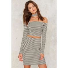7025b8cc297ce Close Quarters Striped Midi Skirt ($38) ❤ liked on Polyvore featuring  skirts, stripe