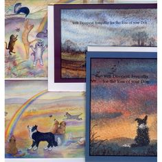 4 assorted sympathy for loss of dog cat cards sheepdog cats pets waiting for you at Rainbow Bridge Border Collie Siamese tabby ginger