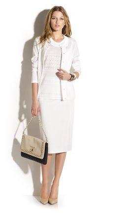 Total look falda tubo con twin-set de punto calados estilo años 50. Falda c94a6d714257