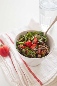 Strawberry spinach salad with quinoa - Vegetarian recipes using fresh foods and vegetables by Kathryne Taylor
