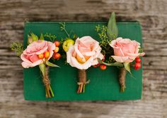 rose and berry boutonnieres // LittleFlowerCottage.com