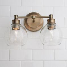 Volta Glass Vanity Light - 2 Light - Shades of Light Treatment Projects Care Design home decor Wall Lights, Vanity Lighting, Bathroom Styling, Glass Collection, Glass Vanity, Light, Glass, Bathroom Design, Bathroom Decor