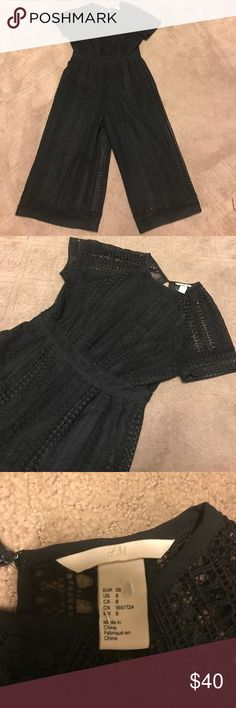 Used Women's romper Gently used Women's laced wide legged Romper. Inside of the romper is lined . H&M Pants Jumpsuits & Rompers