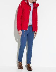 A pop of colour certainly stands out in dreary Vancouver. I like that colored jackets aren't just for the girls anymore. Spring Jackets, Winter Jackets, Red Parka, Just Style, Style Men, Nautical Looks, Fashion Catalogue, Sharp Dressed Man, Men Dress