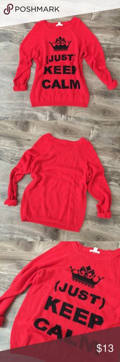 "• forever 21 | knit sweater • ▫️Brand: Forever 21 ▫️Size: Large ▫️Condition: Great condition, worn a couple of times. Minimal pilling due to wash and dry. Small snag on the left arm, as seen in the last pic. ▫️Description: ""Just Keep Calm"" knit sweater.  🔻Additional pics upon request.  🔻No ""lowest?"" / holds / trades  🔻Reasonable offers accept via offer button. 🔻Questions? Please ask! Forever 21 Sweaters Crew & Scoop Necks"