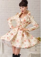 Shop Simple Splendid Korean Style Jacquard Coat on sale at Tidestore with  trendy design and good price. Come and find more fashion Trench Coats here. 4e8e42ee8d4