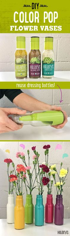 Reuse salad dressing bottles is to turn them into vases!  To make your own:  1.) clean an empty bottle 2.) pour a non-waterbased paint into the bottle and swirl it around 3.) let the bottle dry upside down so that excess paint comes out evenly  That's all it takes! These DIY vases can add a pop of color to any room.