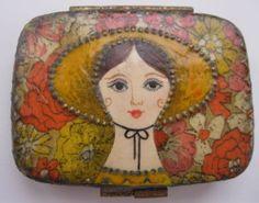 Gemma Taccogna Mexico Folk Art Mirror Compact Paper Mache Signed Estate Vintage