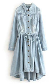 ROMWE | ROMWE Asymmetric Pleated Self-tied Light-blue Dress, The Latest Street Fashion