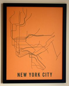 New York City Typographic Transit Map Poster by fadeoutdesign, $25.00