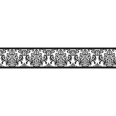 Isabella X Damask Border Wallpaper Sweet JoJo Designs Black And White