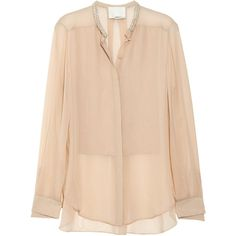 3.1 Phillip Lim Embellished silk-chiffon and crepe de chine blouse ($180) ❤ liked on Polyvore featuring tops, blouses, shirts, blusas, cream, transparent blouse, shirt blouse, cream sheer blouse, cream blouse and sheer blouse