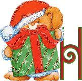 Oh my Alfabetos!: Alfabeto navideño tintineante de conejito con regalo.