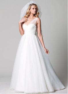 Charming Organza A-line One Shoulder Neckline Raised Waistline Wedding Dress