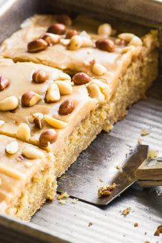 A piece of old fashioned peanut butter cake with fork