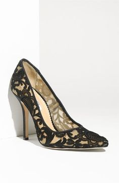 Oscar de la Renta black lace shoes