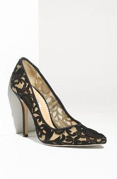 Oscar de la Renta black lace shoes