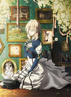 BD/DVD cover art for Eternity and the Auto Memory Doll Anime In, Manga Anime, Anime Love, Violet Evergreen, Evergreen Trees, Comic Yuri, Dandere Anime, Violet Evergarden Wallpaper, Violet Evergarden Anime