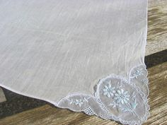 Fine linen handkerchief with delicate pale blue embroidered flower lace insert. Vintage quality wedding bridesmaid gift, something blue @  PumpjackPiddlewick
