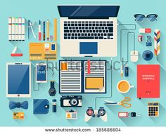 stock-vector-flat-design-modern-vector-illustration-concept-of-creative-office-workspace-workplace-top-view-of-185686604.jpg (450×366)