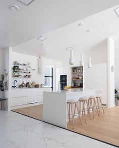 my scandinavian home: An Inspiring Finnish Home kitchen in white and wood.