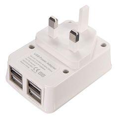 4 USB Port Power Adapter HUB Wall Charger USB Adapter UK/US/EU Plug