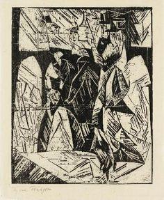 SPAZIERGÄNGER By Lyonel Feininger Artwork Description Dimensions: 112x90 mm Medium: Drypoint on Japan paper Creation Date: Circa 1911