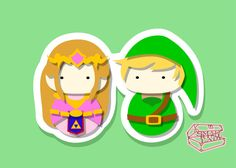"""Link and Zelda Inspired - 5""""x7"""" PostCard Print Kawaii Chibi Creative Kokeshi Kokeshi is a japanese doll that was originally made of wood, with a round head and a cylindrical body. Creative Kokeshi are following the more kawaii"""