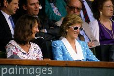 July 8 1989  Diana and Catherine Soames during the Men's Singles semi-final between Ivan Lendl and Boris Becker on the Centre Court at Wimbledon