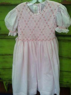 Strasburg Girl's Pink Smocked Dress Size 5 #Strasburg
