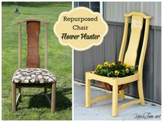 Salvaged chair transformed into flower planter via Farmhouse Friday #8 - Garden Projects - Knick of Time