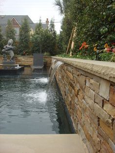 Dry Stack Stone Swimming Pool Fountain Dallas Luxury Swimming Pools Pinterest Swimming