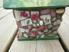 Pink and Green Spring Mosaic BirdhousePique by MosaicGumbo on Etsy, $60.00