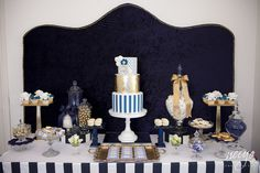 navy blue and gold baby shower