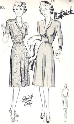 'Understated and lovely daywear dresses from 1943 (Butterick 2079). '
