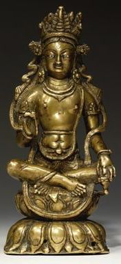 8th century, Kashmir, buddha of the future Maitreya, brass with silver and copper inlay, private collection