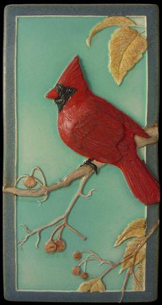 Art, tuile en céramique sculpturale, Cardinal 4 « x 8 »