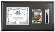 8.5 x 11 & 5 x 7 Graduation Picture Frame for Wall, Matted with Tassel Holder - Brown