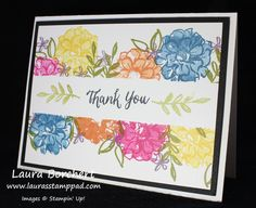 Masked Bouquet of Flowers!!! What I Love Stampin' Up Stamp Set, Sale-A-Bration, Rose Wonder Stampin' Up Stamp Set, Flower Bouquet, Masking, www.LaurasStampPad.com