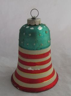 Vintage Shiny Brite Glass Christmas Ornament. Glass Ornament Bell with Stars and Stripes in Red,White,and Blue. Patriotic ornament.