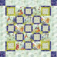 "Garden Trellis Table Topper- by MEGAN O'BRIEN - Sweet spring florals work perfectly  in this table topper.    Skill level: Beginner  Block size sewn into quilt: 10"" x 10""  Number of blocks: 25 (4 Block A,  9 Block B, 12 setting)  Finished topper size: 64"" x 64"""