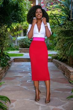 Fitted Button-Down Shirt + Contrast Waist Skirt Pretty Outfits, Stylish Outfits, Beautiful Outfits, Work Fashion, Fashion Outfits, Womens Fashion, So Kate Louboutin, Moda Afro, Style Pantry