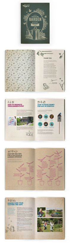 Open Gardens Brochure Design – Age UK. Robot Mascot